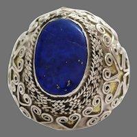 Lapis Lazuli Kuchi Ring   Afghan Silver   Tribal Ethnic Bedouin Signet