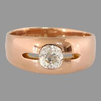 Victorian Russian Diamond Mens Ring | 14K Rose Gold | Khlebnikov Antique