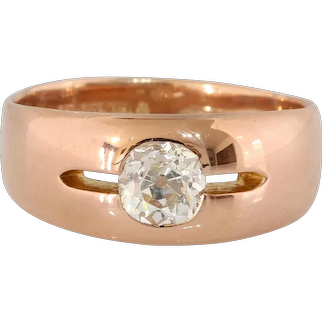 Victorian Russian Diamond Mens Ring | 14K Rose Gold | Khlebnikov Antique