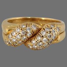Retro Diamond Interlocked Ring | 18K Yellow Gold | Double Band Stacking