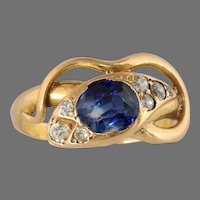 Victorian Bicolor Sapphire Snake Ring | 18K Yellow Gold | Diamond Cocktail