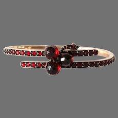Art Deco Bohemian Garnet Bracelet | 9K Rose Gold | Vintage Hinged Bangle