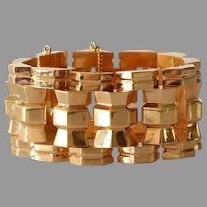 Retro Wide Link Bracelet | 18K Rose Gold | Vintage Chunky Jewelry