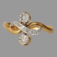 Art Deco Two Stone Diamond Ring | 18K Bicolor Gold | Eternity Engagement