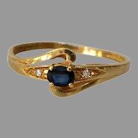 Retro Sapphire Diamond Engagement Ring | 18K Yellow Gold | France Blue
