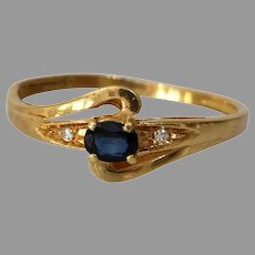 Retro Sapphire Diamond Engagement Ring | 18K Yellow Gold | France Blue