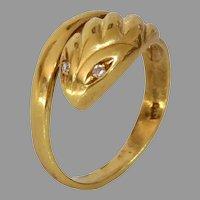 Retro Gold Diamond Snake Ring   18K Yellow Serpent Band   Vintage Jewelry
