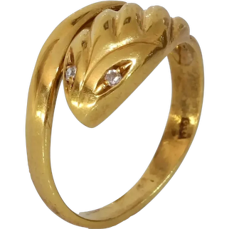 Retro Gold Diamond Snake Ring | 18K Yellow Serpent Band | Vintage Jewelry