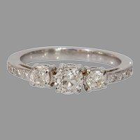 Three Stone Diamond Engagement Ring | 14K Gold European Cut | Vintage