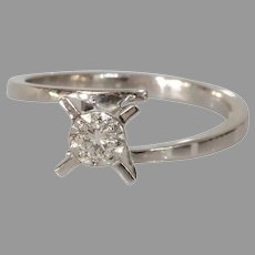 Solitaire Diamond Engagement Ring | 18K White Gold | Vintage Round Cut