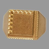 Mens Retro Signet Ring | 18K Yellow Gold Square | Vintage France Gents