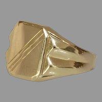 Mens Retro Signet Ring | 14K Yellow Gold Rectangular | Vintage Gents