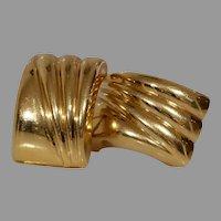 Retro Rectangle Gold Drop Earrings | 14K Yellow Vintage | Omega Back