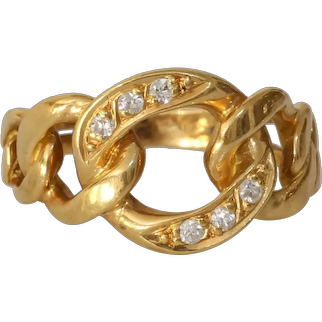 Curb Link Diamond Ring | 18K Yellow Gold | Vintage Cuban Pinky Israel