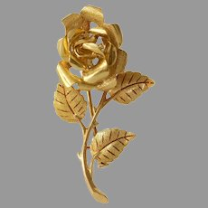 Retro Gold Rose Brooch | 18K Yellow Flower Pin | Vintage French Jewelry