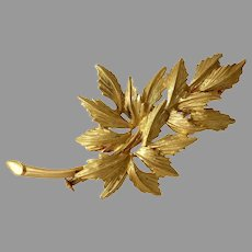 Fern Branch Gold Brooch | 18K Yellow Leaf Pin | Vintage Estate French