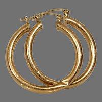 Gold Hoop Drop Earrings | 14K Yellow Vintage | Estate Jewelry Dangle