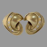 Shell Shaped Brushed Gold Earrings | 14K Yellow Diamond | Vintage Omega