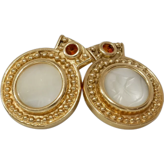 Mother of Pearl Gold Earrings   14K Yellow Citrine   Vintage Round Drop