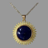 Retro Lapis Lazuli Pendant | 18K Yellow Gold | Cabochon Vintage France