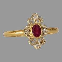 Art Deco Ruby Engagement Ring | 18K Yellow Gold Diamond | Vintage