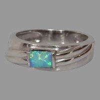 Vintage Opal Gold Ring | 14K Cabochon Solitaire | Israel Band Precious