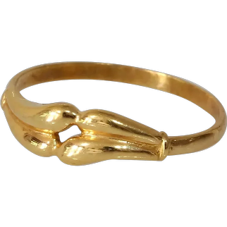 Retro 18K Gold Band Ring | Yellow Vintage Modernist | Estate Jewelry
