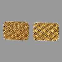 Retro Rectangular Gold Cufflinks   18K Yellow Vintage   Estate Jewelry