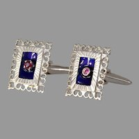Retro Ruby Enamel Gold Cufflinks   18K White Rectangle   Mens Jewelry