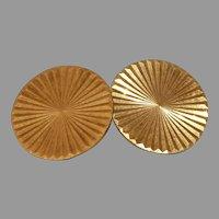 Retro Round Gold Cufflinks   18K Yellow Vintage   French Estate Jewelry