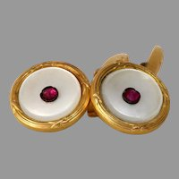 Art Deco Mother of Pearl Cufflinks   18K Yellow Gold Ruby   Vintage