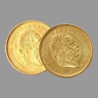 Franz Joseph I Gold Coin Cufflinks   10 Francs 21K   4 Florins Vintage