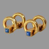 Elongated C-Shaped Gold Cufflinks   18K Yellow Lapis Lazuli   Vintage