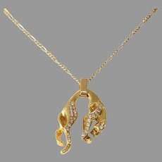 Panther Diamond Gold Pendant | 18K Yellow Vintage | Estate Jewelry