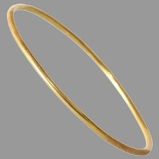 Vintage 18K Yellow Gold Bangle | Bracelet Polished Brushed | Jewelry