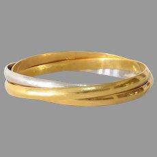 Multi Band Bicolor Gold Bangle | 18K Yellow White Bracelet | Vintage