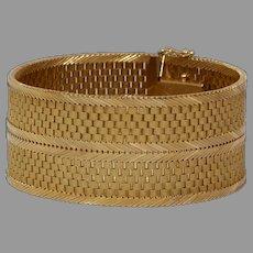 Retro Thick Gold Bracelet | 18K Yellow Wide Box Link | Vintage Jewelry