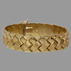 Vintage Gold Wide Link Bracelet | 14K Yellow Braided | Brushed Polished