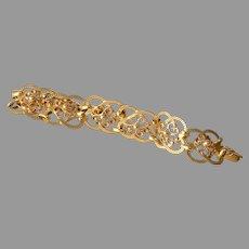 Quaternary Knot Gold Bracelet | 18K Yellow Links Celtic | Vintage France