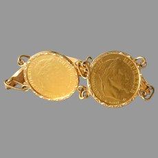Napoleon III Gold Coin Bracelet | 10 Francs 1863 21K | Link Chain 18K