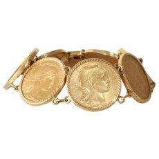 20 Francs Gold Coin Bracelet | Marianne Rooster | 21K 18K Link Chain