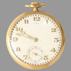 UTI Gold Pocket Watch | 18K Yellow Retro | Open Face Vintage Estate Mens