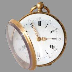 Victorian Gold Pocket Watch | 18K Yellow Open Face | Antique Key Wind