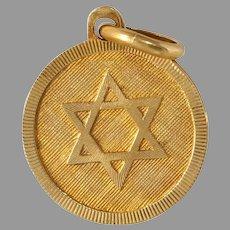 Retro Magen David Pendant | 18K Yellow Gold | Vintage Star Judaica