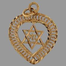 Magen David Heart Hai Pendant | 14K Yellow Gold | Vintage Star Judaica