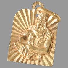 Vintage Ten Commandment Pendant | 18K Rose Gold | Moses Judaica Retro