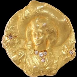 Art Nouveau Diamond Gold Brooch | 18K Yellow Pin | Antique French Lady