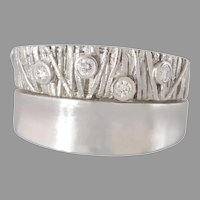 Modernist Diamond Gold Ring   14K White Thick Band   Vintage Retro Israel