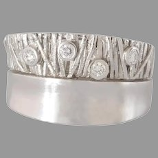 Modernist Diamond Gold Ring | 14K White Thick Band | Vintage Retro Israel