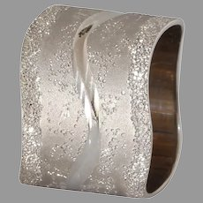 Modernist Thick Band Gold Ring   14K White Retro   Vintage Israel